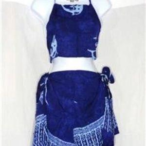 Other - TAHITI TIE WRAP DARK BLUE DOLPHIN SARONG 2 PIECE